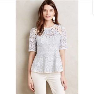 HD In Paris Blue Lace Peplum Top